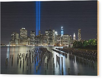 Nyc - Tribute Lights - The Pilings Wood Print by Shane Psaltis