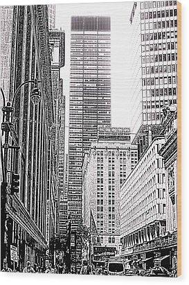 Nyc Buildings Labyrinth Wood Print by Mario Perez