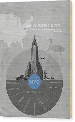 Nyc Poster Wood Print by Naxart Studio