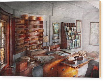 Office - The Purser's Room Wood Print by Mike Savad