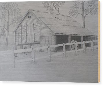 Old Austane Barn Wood Print by Brian Leverton