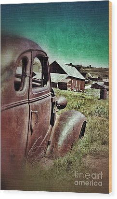 Old Car And Ghost Town Wood Print by Jill Battaglia