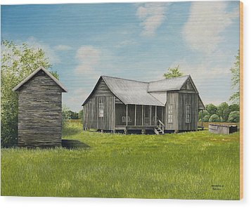Old Clark Home Wood Print by Mary Ann King