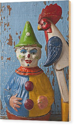 Old Clown And Roster Wood Print by Garry Gay