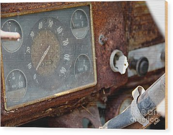 Old Dashboard Wood Print by Pauline Ross