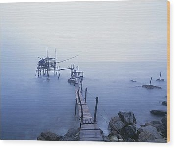 Old Fishing Platform At Dusk Wood Print by Axiom Photographic
