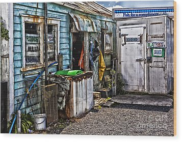 Old Fishing Store At Rawehe Wood Print by Avalon Fine Art Photography