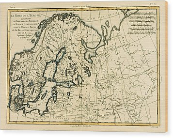 Old Map Of Northern Europe Wood Print by Guillaume Raynal