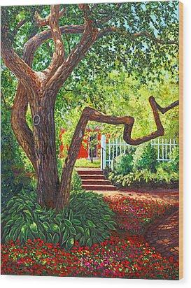 Old Park Tree Wood Print by Elaine Farmer