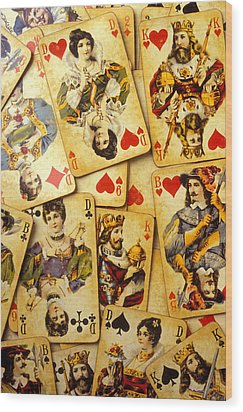 Old Playing Cards Wood Print by Garry Gay