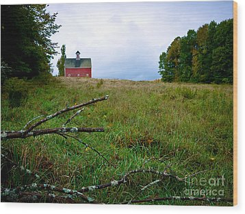 Old Red Barn On The Hill Wood Print by Edward Fielding