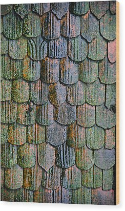 Old Roof Tiles Wood Print by Jen Morrison