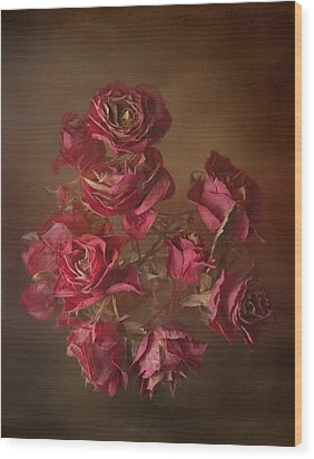 Old Roses Wood Print by Karen Martin