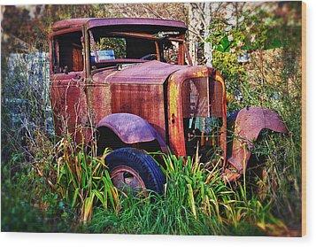 Old Rusting Truck Wood Print by Garry Gay