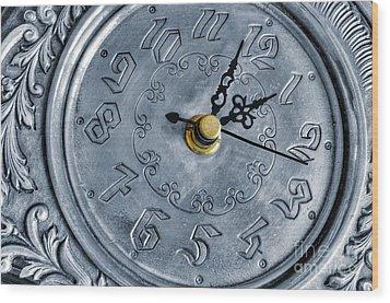 Old Silver Clock Wood Print by Carlos Caetano