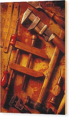 Old Worn Tools Wood Print by Garry Gay