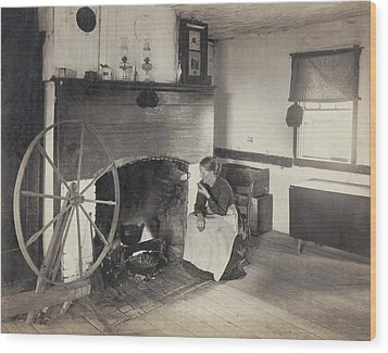 Olden Times. Middle Aged Woman Watching Wood Print by Everett