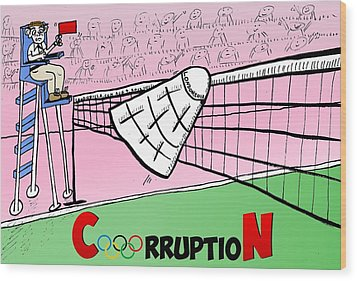 Olympic Corruption Cartoon Wood Print by Yasha Harari