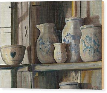 On The Shelf Wood Print by Sheila Kinsey