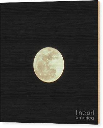 Only The Moon Wood Print by Elizabeth Hernandez