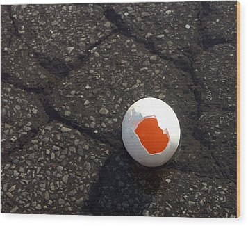 Open Broken Egg - View From Above Wood Print by Matthias Hauser