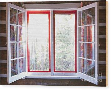 Open Window In Cottage Wood Print by Elena Elisseeva