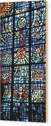 Orange Blue Stained Glass Window Wood Print by Thomas Woolworth