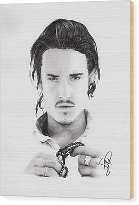 Orlando Bloom Wood Print by Rosalinda Markle