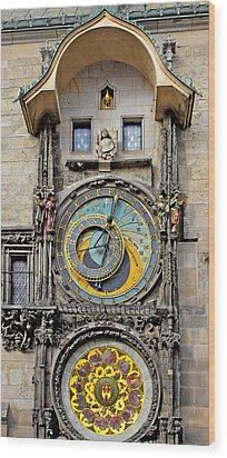 Orloj - Prague Astronomical Clock Wood Print by Christine Till