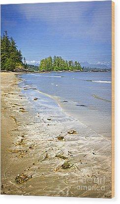 Pacific Ocean Coast On Vancouver Island Wood Print by Elena Elisseeva