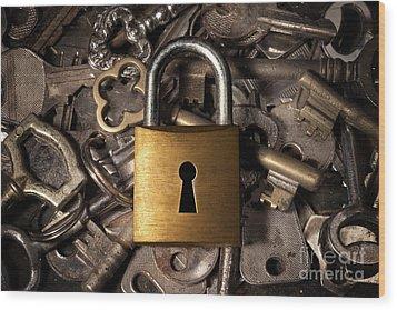 Padlock Over Keys Wood Print by Carlos Caetano