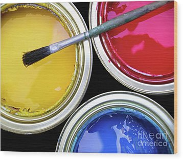 Paint Cans Wood Print by Carlos Caetano