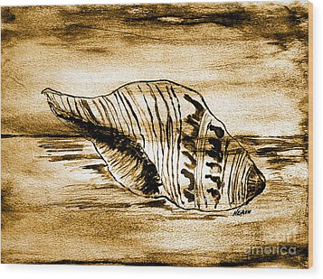 Painted Seashell Wood Print by Marsha Heiken