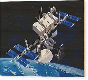 Painting Of Space Station Orbiting Earth Wood Print by Stocktrek