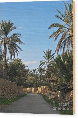 Palm Gardens In Palmyra Oasis Wood Print by Issam Hajjar