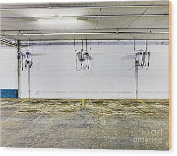 Parking Garage With Charging Stalls Wood Print by Skip Nall