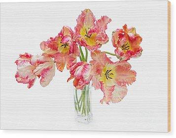 Parrot Tulips In A Glass Vase Wood Print by Ann Garrett