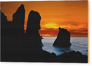 Patrick's Point Silhouette Wood Print by Greg Nyquist