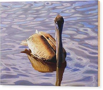 Pelican Puddles Wood Print by Karen Wiles