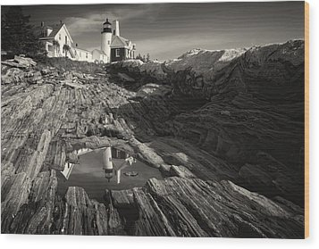 Pemaquid Point Reflection Wood Print by George Oze