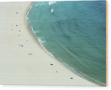 People Relaxing On Beach Wood Print by G Fletcher