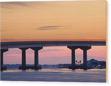 Perdido Bridge Sunrise Closeup Wood Print by Michael Thomas