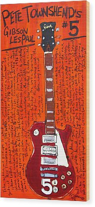 Pete Townshend's Les Paul 5 Wood Print by Karl Haglund