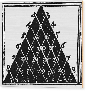 Petrus Apianus's Pascal's Triangle, 1527 Wood Print by Dr Jeremy Burgess