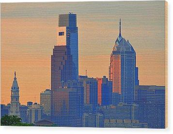 Philadelphia Sunrise Wood Print by Bill Cannon