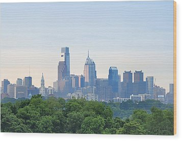 Philly Skyline Wood Print by Bill Cannon