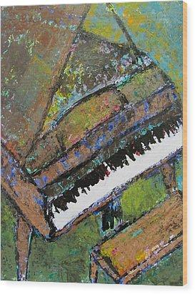 Piano Aqua Wall - Cropped Wood Print by Anita Burgermeister