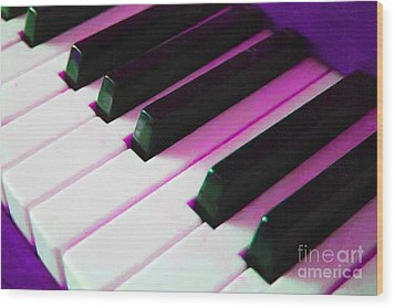 Piano Keys . V2 . Purple Wood Print by Wingsdomain Art and Photography