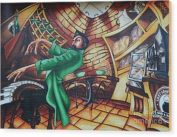 Piano Man Wood Print by Bob Christopher