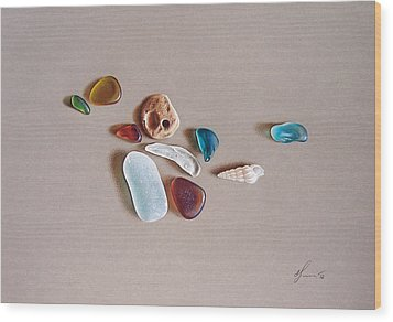 Pieces From The Ocean Wood Print by Elena Kolotusha